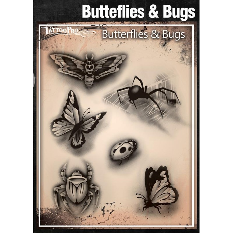 Airbrush tattoo pro stencil butterflies and bugs for Spray on tattoo stencils