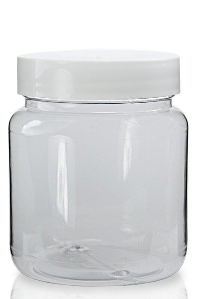 Clear Plastic Jar With White Screw On Lid