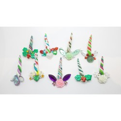Pack of 5 Mixed Christmas Unicorn Bling