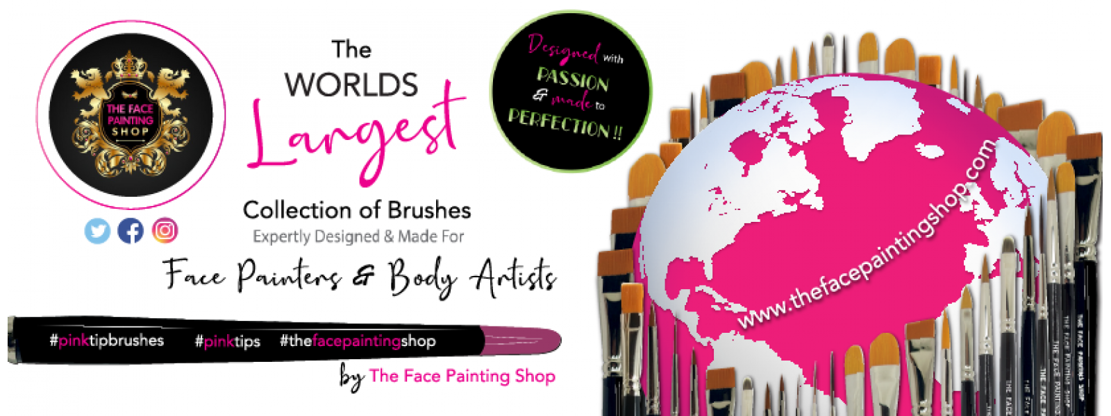 The Face Painting Shop Pink Tip Brushes