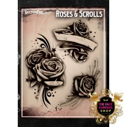 Airbrush Tattoo Pro Stencil Rose's and Scrolls