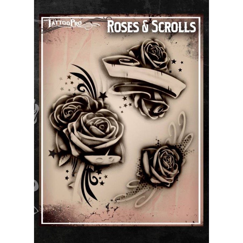 airbrush tattoo pro stencil rose 39 s and scrolls. Black Bedroom Furniture Sets. Home Design Ideas