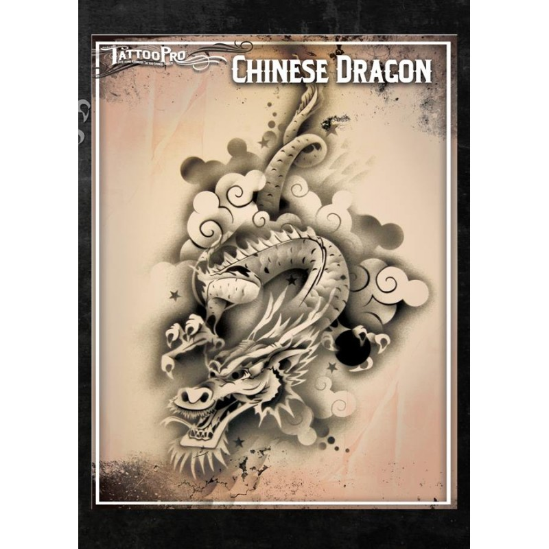 Airbrush tattoo pro chinese dragon for Spray on tattoo stencils