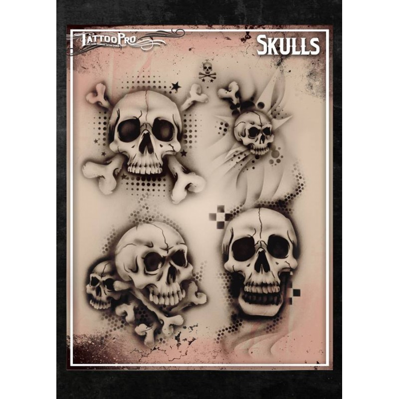 Airbrush tattoo pro skulls for Spray on tattoo stencils