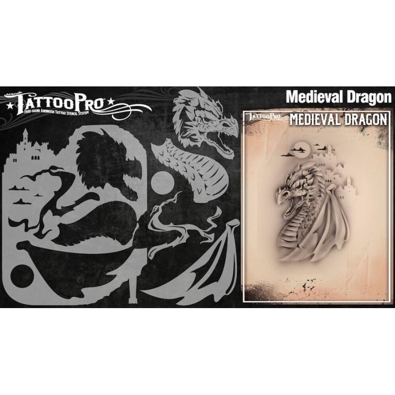Airbrush tattoo pro stencil medieval dragon for Spray on tattoo stencils