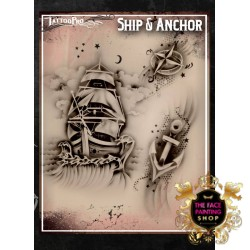 Airbrush Tattoo Pro Stencil Ship and Anchor