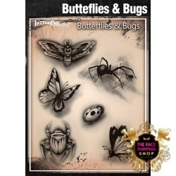 Airbrush Tattoo Pro Stencil Butterflies and Bugs