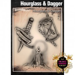 Airbrush Tattoo Pro Stencil Hourglass and Dagger