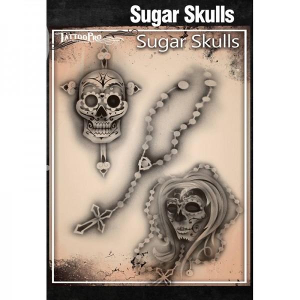 Airbrush Tattoo Pro Stencil Sugar Skulls