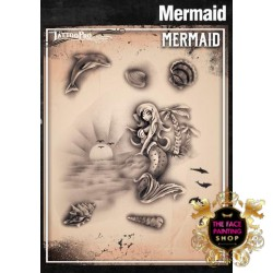 Airbrush Tattoo Pro Stencil Mermaid Cove