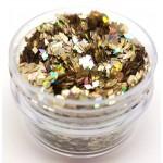Chunky Glitter Pale Holo Gold Diamonds