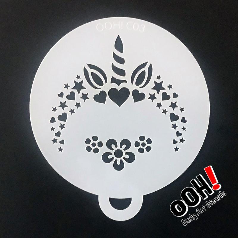 Ooh Body Art Stencil Flip Unicorn