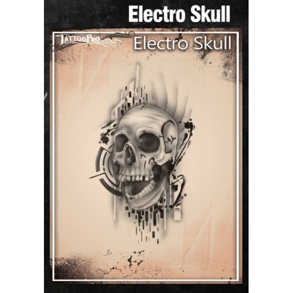 Airbrush tattoo pro stencil electro skull for Airbrush tattoo paint