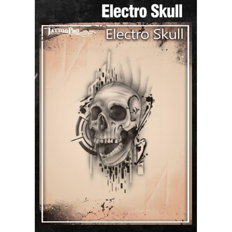 Airbrush tattoo pro stencil electro skull for Spray on tattoo stencils